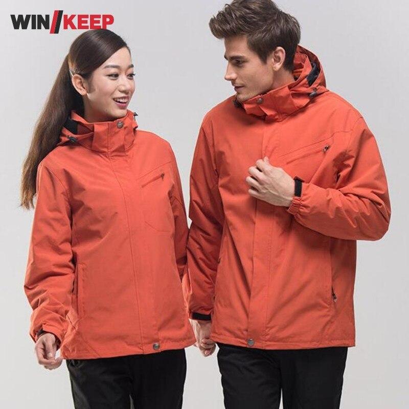 Men Women Winter Waterproof Mountain Clothes Climbing Hiking Overcoats Thicken Fleece Lined Warm Outwear Jacket Coat For Lovers цены