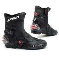 Motorcycle Motorbike Bicycle Sport Bike Motor High Fiber Leather Wind Rain Waterproof Boots Shoes SCOYCO A004