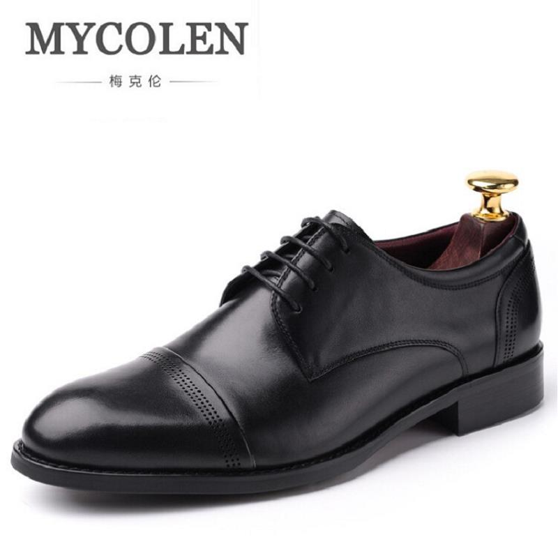 MYCOLEN Men Dress Shoes Genuine Leather Light Weight New Design Men Working Shoes Flats Height Increasing Cowhide Shoes
