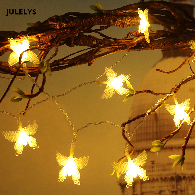 JULELYS 10M 100 Bulbs Garland Battery Powered Festoon LED Light Butterfly Christmas String Lights Decoration For Wedding Holiday