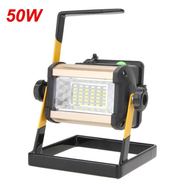 Imperméable 2400lm IP65 50 W éclairage led Rechargeable 36 led projecteur Projecteurs Lumière Pour L'extérieur