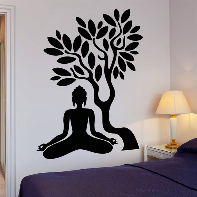 Buddha Meditieren Wandtattoo Buddhismus Ast Blätter Yoga Studio ...