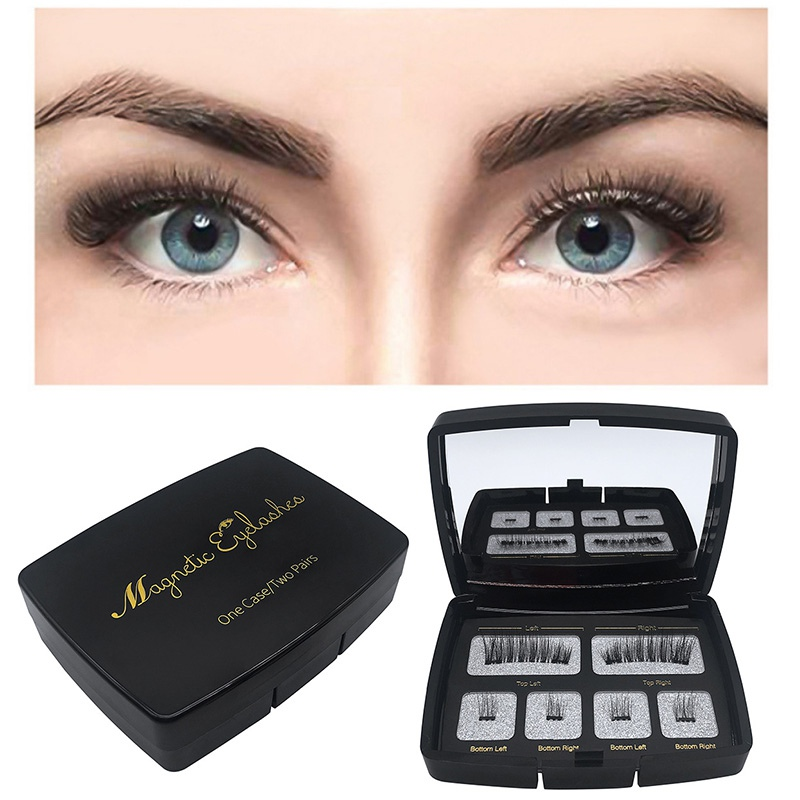3D False Eye Lashes Reusable Magnet Fake Eyelashes Kit Magnetic False Eyelashes Set With Eyelash Tweezers