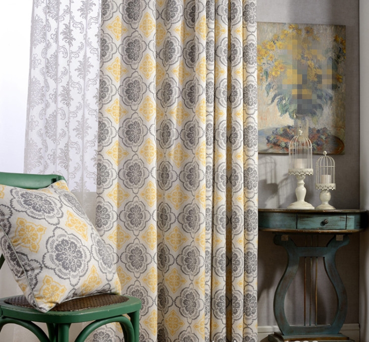 [festivity] high grade printing curtains, mixing materials. Cotton blackout curtains, two color