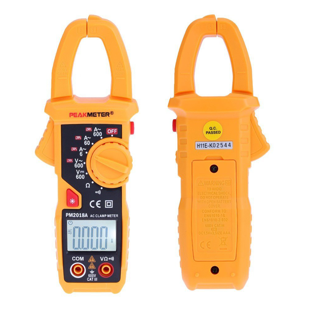 PEAKMETER PM2018A Handheld Digital LCD Clamp Meter Multimeter AC/DC Voltage AC Current Resistance Continuity with Backlight new fluke 303 clamp multimeter ac dc handheld 600a 30mm 4000ohm with backlight