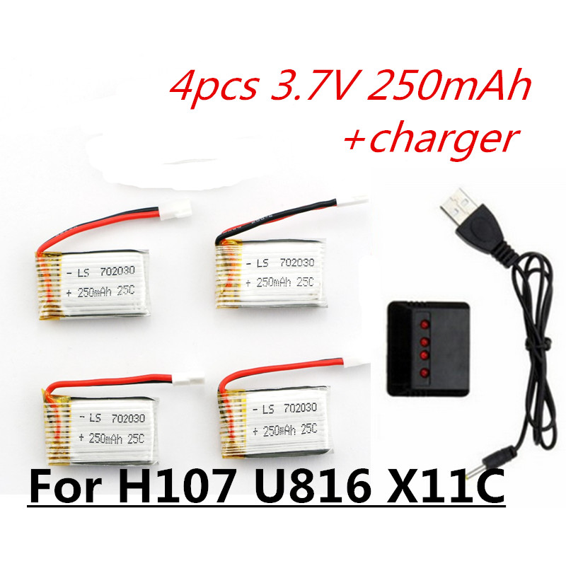 3.7V 250mAh LiPo Battery and charger For Hubsan H107 H107C H107L H107D Syma X11C JD385 H108C U816 WLtoys v966 Helicopter rc