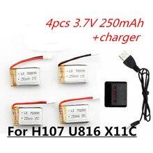 4pcs 3.7V 250mAh LiPo Battery and charger For Hubsan H107 H107C H107L H107D Syma X11C JD385 H108C U816 WLtoys v966 Helicopter rc