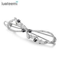 Teemi Luxury CZ Pave Black Pearl Fashion Bridal Hair Clips For Women Hair Accessories Wedding Jewelry
