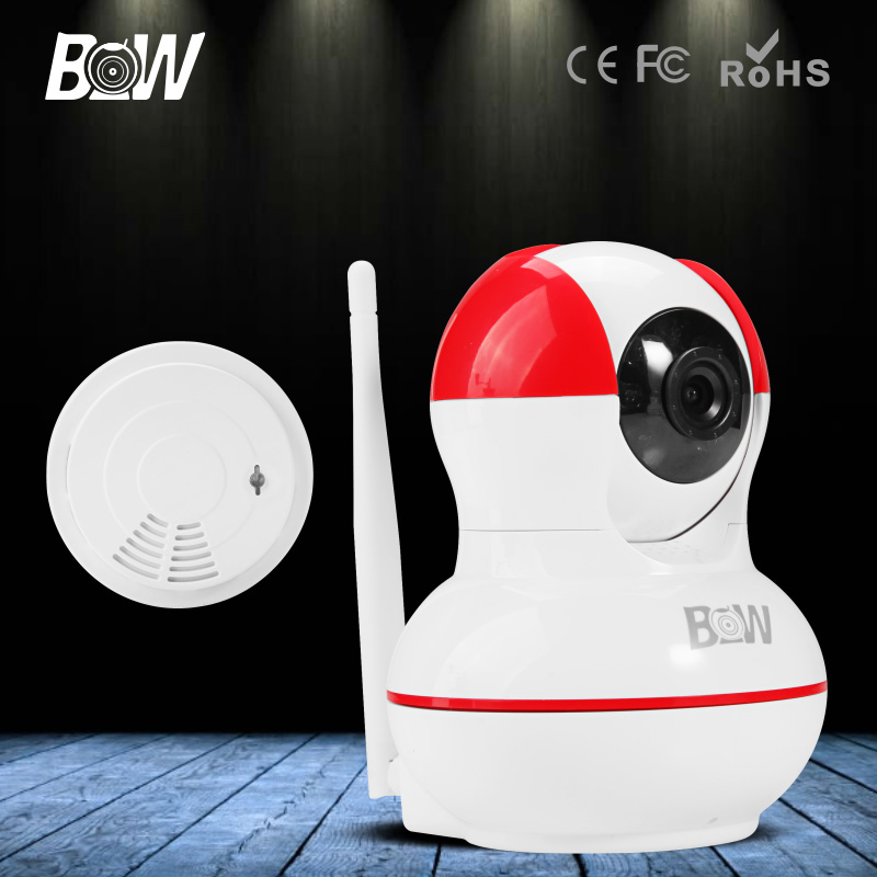 ФОТО 2016 BW IP Camera WiFi Wireless HD 720P Network IP Security CCTV Baby Monitor Mini Smoke Detector Automatic Alarm Surveillance