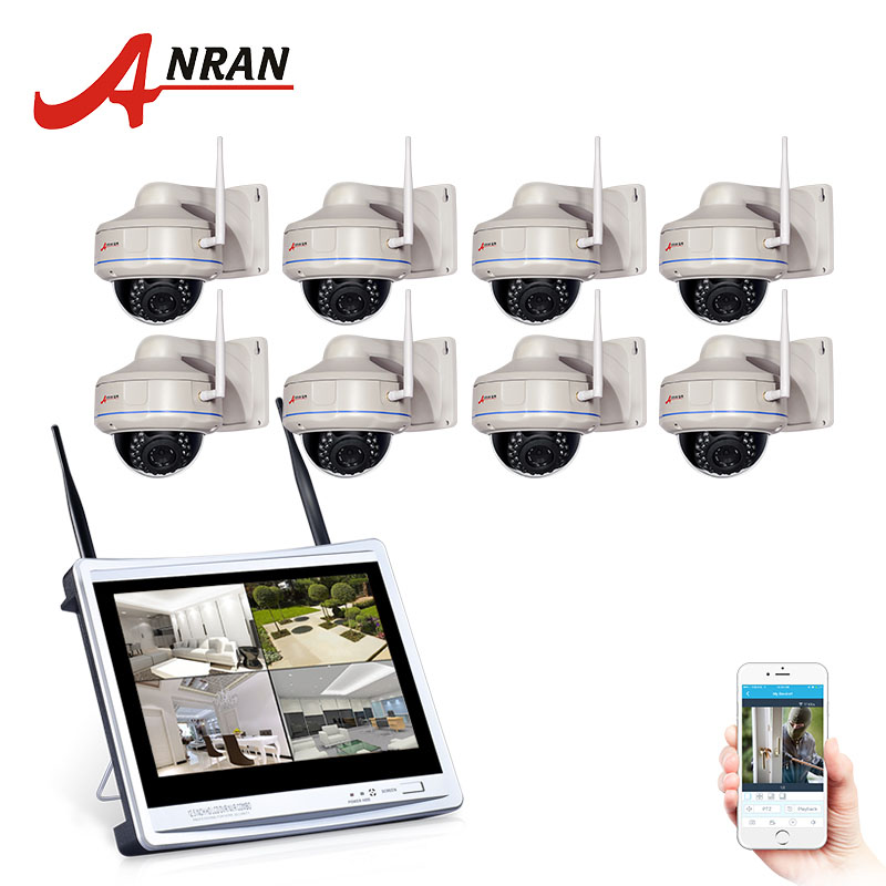 ANRAN 12Inch LCD Screen CCTV System 1080P HD NVR IR Outdoor Security Camera Wifi Security Camera System Surveillance Kit