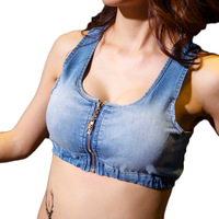 Fashion Women Thin Out Denim Bra Crop Tops Summer Tank Top Sexy Hollow Behind Cross Bustier