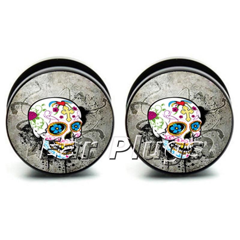 Origin Mexican Sugar Skull Skeleton picture ear expander screws flesh tunnel ear plug gauges 60pcs 6mm-25mm A0092
