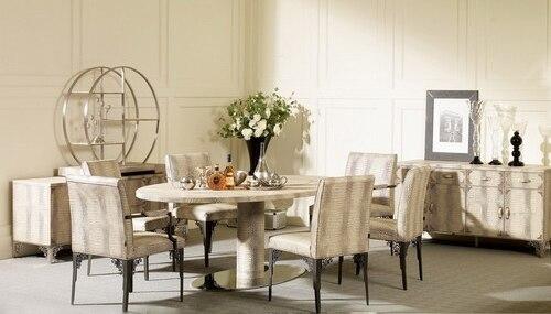 Edelstahl esstisch mit esszimmer set mit 6 stühle, Leder tisch ...