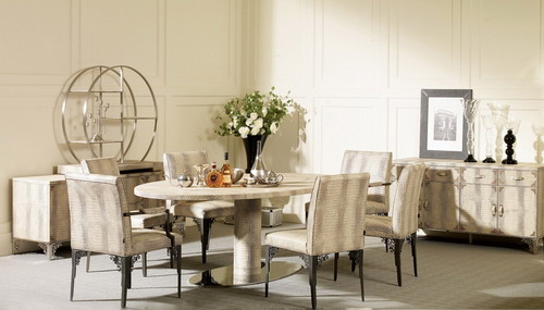 € 1882.27 6% de DESCUENTO|Aliexpress.com: Comprar Mesa de comedor de acero  inoxidable con juego de comedor con 6 sillas, mesa de cuero moderna, ...