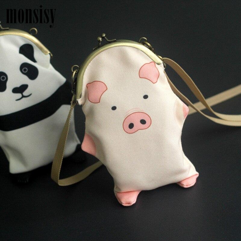 Monsisy Kawaii Children Purse Handbag Girl Phone Bag Wallet Cartoon Pig/Panda Canvas Kid Shoulder Bag Women Phone Messenger Bag