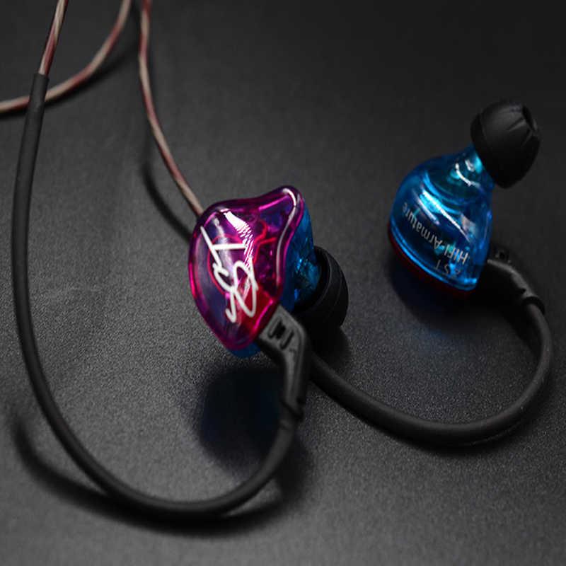 KZ ZST Pro słuchawka z mikrofonem podwójny sterownik odpinany kabel w uchu monitory izolowanie szumów HiFi Audio muzyka słuchawki sportowe