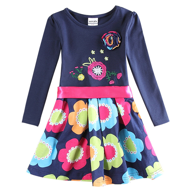 baby clothes girl cotton embroidery knee length dress kids clothes girl dress floral long sleeves casual dresses for girls H5868 floral print knee length dress with sleeves