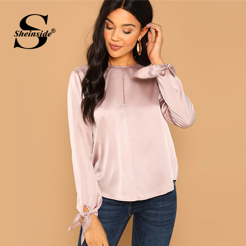 4826b40794 Sheinside Pink Office Ladies Blouse Women Elegant Long Sleeve Shirt Keyhole  Back Solid Top 2018 Autumn Womens Tops And Blouses-in Blouses & Shirts from  ...
