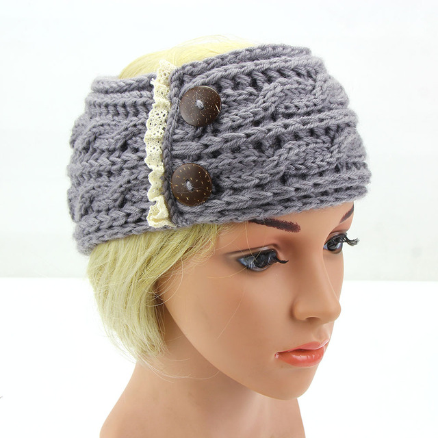 Winter Spitze Häkeln Stirnband Turban bunten Taste Knit haarband ...