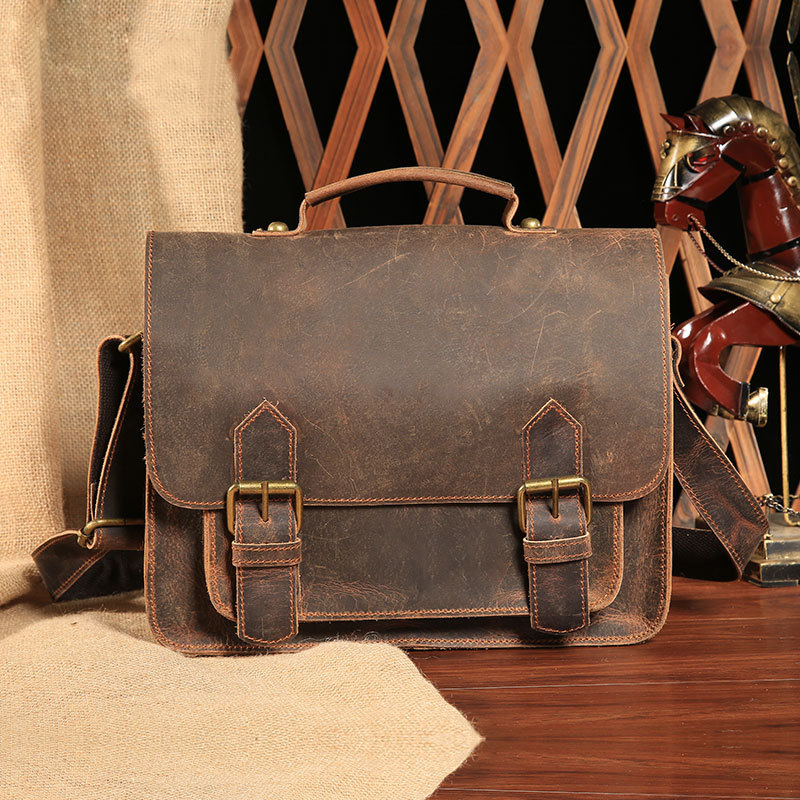 Vintage Crazy Horse Genuine Leather Top Handle Bag Men Briefcase  Shoulder Crossbody Casual Totes Business Travel Postman Bags men shoulder bag genuine cowhide oil wax leather messenger crossbody bags male casual totes briefcase business top handle bag