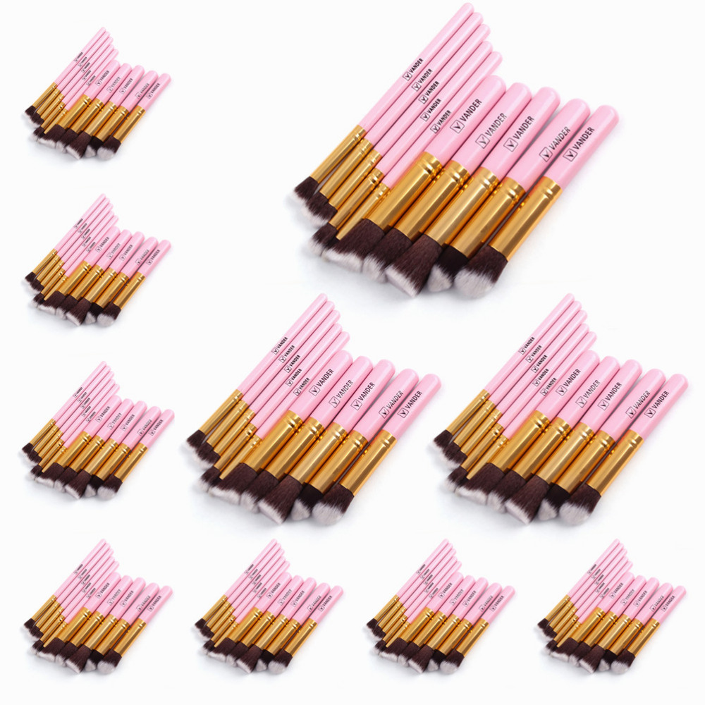 (Wholesale) 10 Sets / 10pcs Pink Golden Makeup Blushes Kits Kabuki Cosmetics Make Up Tools For Powder Foundation Eyeshadow Lip