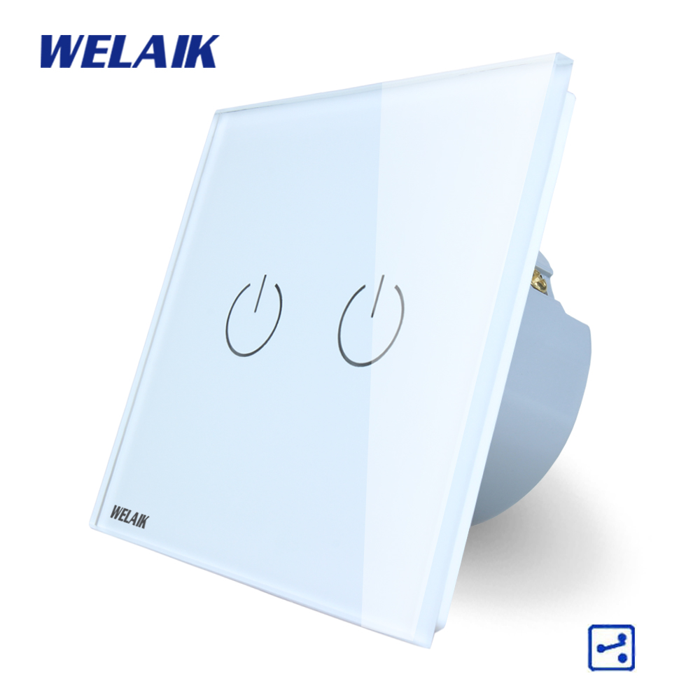 WELAIK Crystal Glass Panel Switch White Wall Switch EU Touch Switch Screen Wall Light Switch 2gang2way AC110~250V A1922W/B welaik crystal glass panel switch white wall switch eu remote control touch switch light switch 1gang2way ac110 250v a1914w b