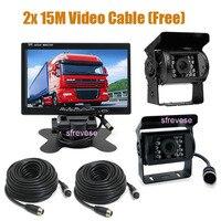 12V 24V 4Pin Car Rear View Kit 7 LCD Monitor + 2x CCD IR Night Vision Waterproof Reversing Parking Backup Camera For Bus Truck
