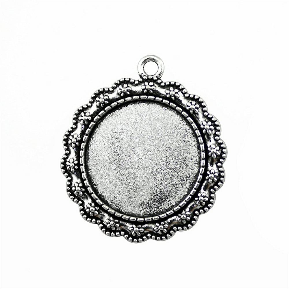 Flower Cabochon Settings Antique Silver Metal Alloy 20mm  10 Pcs DIY Jewellery