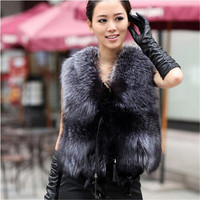 QUEENFUR Real Fur Vest New Real Silver Fox Fur Vest Design New Quality Nature Genuine Fox Fur Gilet Winter Fur 0utwear Womens