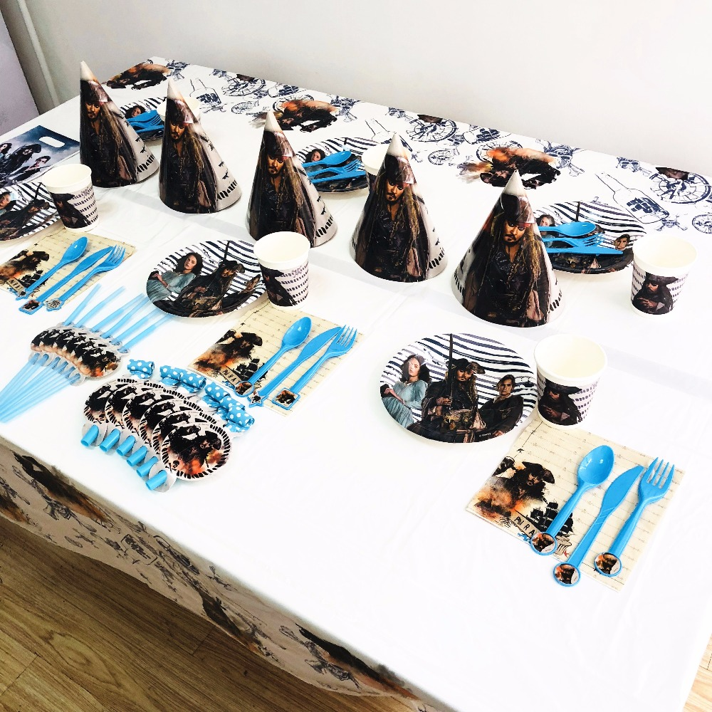 Pirates Theme Kids Birthday Party Decoration Supplies Tableware Plates Napkins Cup Tablecloth Theme Boy Baby Shower