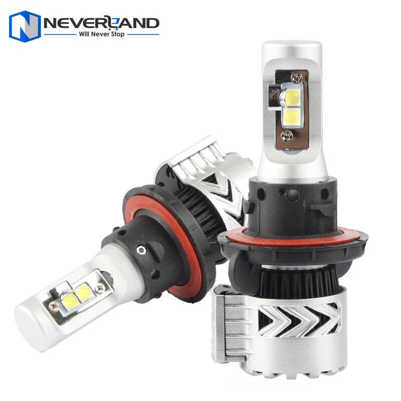 ФОТО 2pcs/set H13 High Low Dual Beam 72W 12000LM 6500K with CREE LED Chips Car Headlight Conversion Fog Lamp Bulb DRL Super White