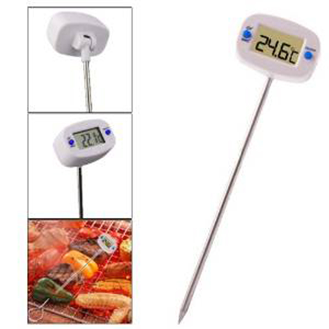 Digital Probe Cooking Thermometer Food Temperature Sensor LCD Display For BBQ Kitchen C/F Switch Silver