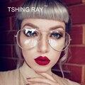 Óculos Vintage Da Moda Piloto Vidros do Olho Óptico óculos Dos Homens Das Mulheres Óculos de Lente Clara Óculos de Armação de Metal Aviação Retro Feminino Masculino