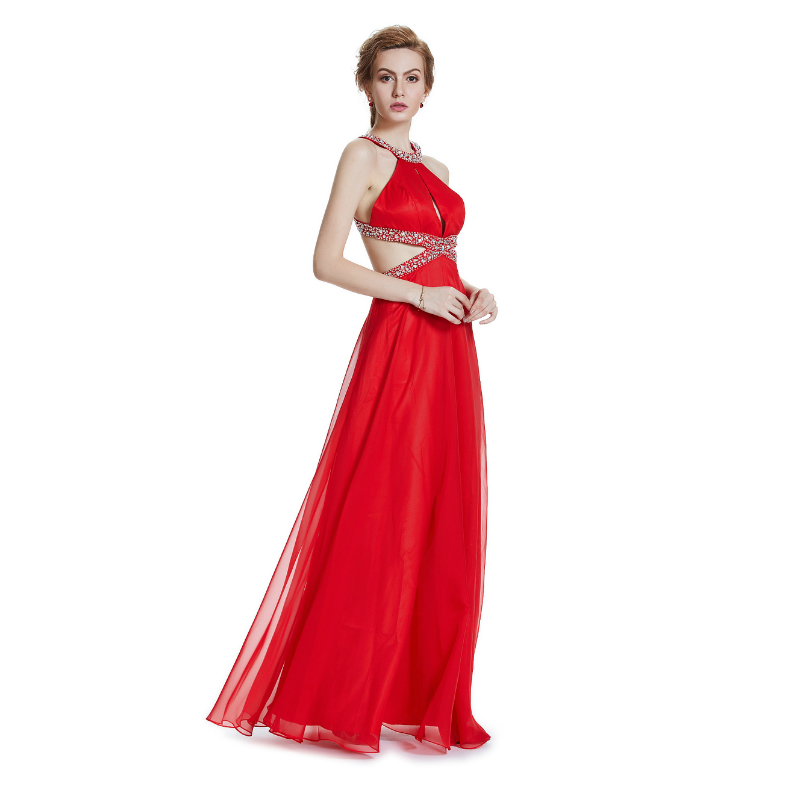 W.JOLI 2017 Sexy Red Long Evening Dress Cytal Beading Bride Bankett - Spesielle anledninger kjoler - Bilde 3
