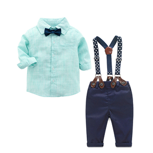 Image 1 - 2019 kids Outfits Baby Clothes Suits Infant Boys Gentleman Suits Green Shirt + Nary Pants Kids Clothing Sets Clothes