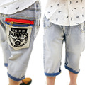 Горячая распродажа 2016 новая весна и лето мальчики джинсы дети до колен корейских детей брюки B150