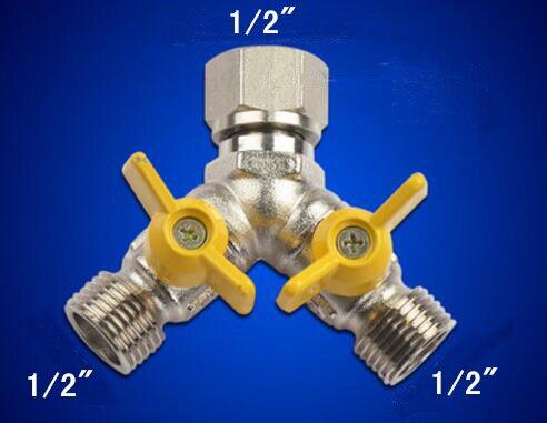 Déviateur de robinet de douche 3 voies   G1/2 G3/4 multifonction avec interrupteur de soupape darrêt, pour pulvérisateur de Bidet de toilettes et machine à laver