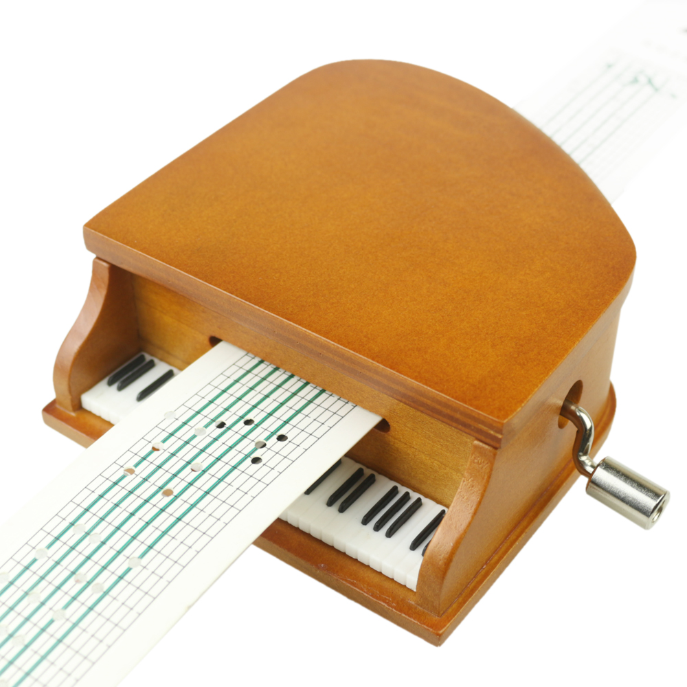 Papier pour bricolage bande boîtes à musique en bois à manivelle Piano boîte à musique en bois artisanat rétro cadeau d'anniversaire Vintage décoration de la maison