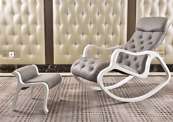 Leather Upholstered Chaise Lounge with Ottoman Set White Finish Wood Living Room Furniture Modern Rocking Chair Lounger Daybed