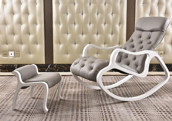 Pelle Imbottita Chaise Lounge con Ottoman Set Bianco Finitura Legno ...