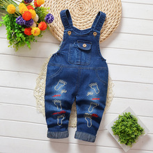 DIIMUU Kids Toddler Baby Boy Girls Overalls Clothing Printing Foot Jeans Pants Denim Cotton Casual Trousers  Suspender Pants недорого