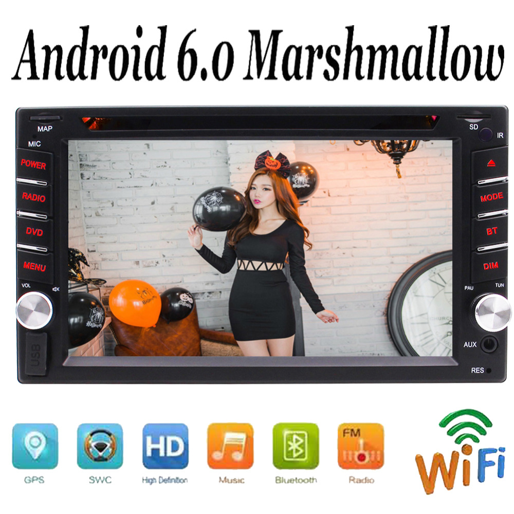 In Dash Car Radio GPS Navigator Double 2 Din Quad Core Android 6.0 Car Stereo car DVD CD Player 6.2'' Touch Screen Bluetooth