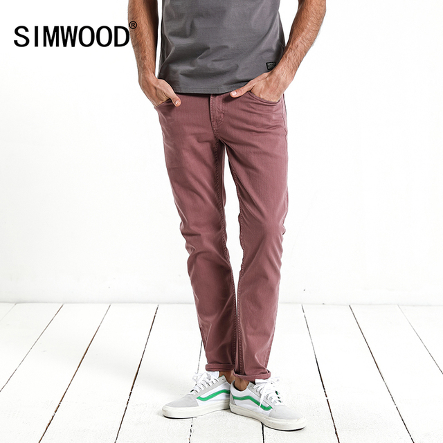 SIMWOOD 2018 Autumn New Jeans Men Purple red Dark Wash Slim Fit Basic Denim Trousers High Quality Male Jean 180086
