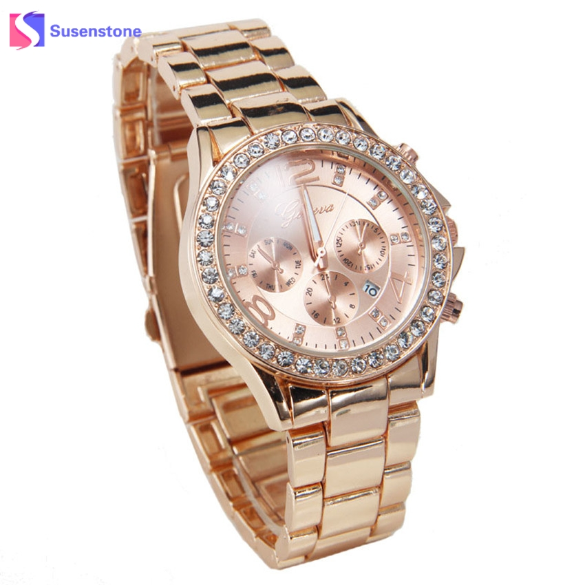 Luxury Womens Watches Top Brand Fashion Stainless Steel Date Rhinestone Rose Gold Silver Quartz Wrist Watch Relogio Feminino watches womens stainless steel bracelet watch new fashion luxury women quartz stainless steel strip wrist watch gift silver 2017