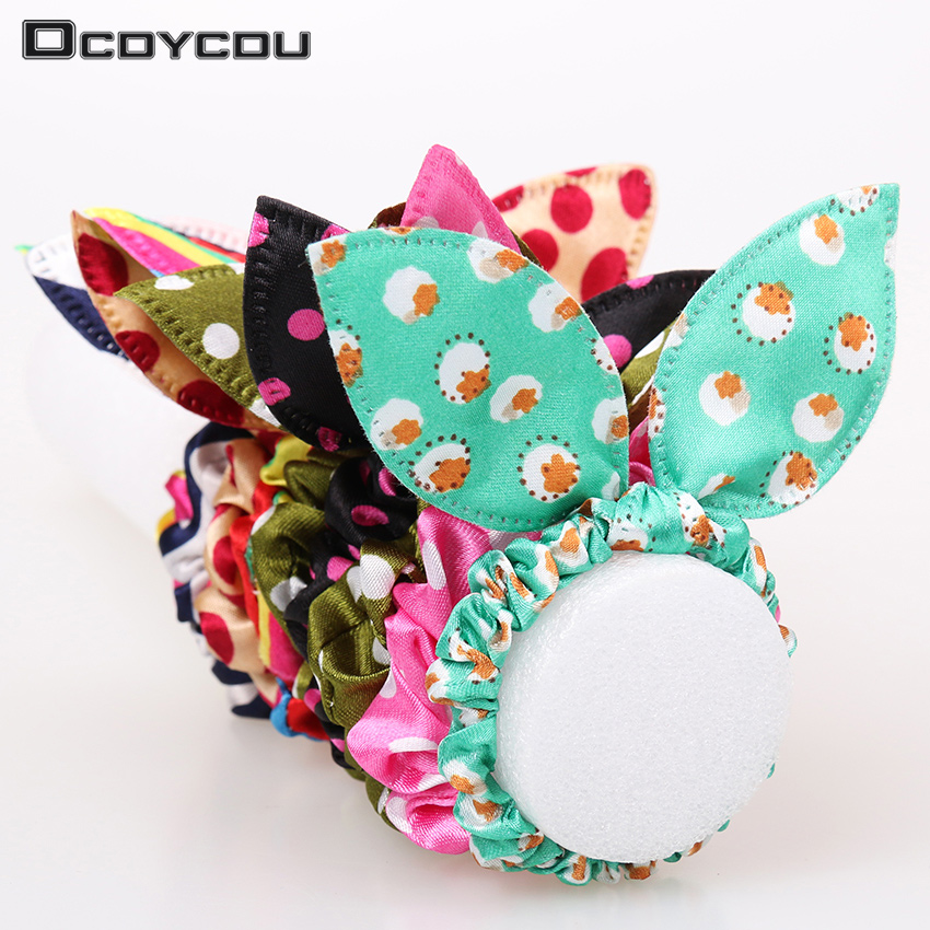 12pcs/lot Original Head Flower Hair Accessories Headdress Korea Trinkets Rabbit Ears Fabric Polka Dot Rubber Band Hair Rope Ring metting joura vintage bohemian green mixed color flower satin cross ethnic fabric elastic turban headband hair accessories
