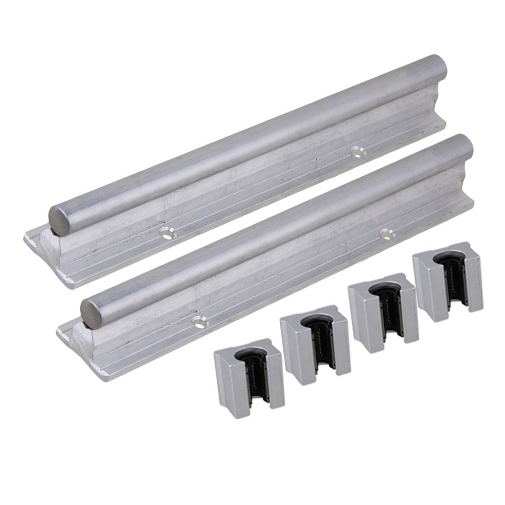 Silver Open Roller Bearing Slide Block & L200mm SBR12 Linear Bearing Rail Guide with 12mm Dia Shaft for CNC Machine Set of 6 ball linear rail guide roller shaft guideway toothed belt driven