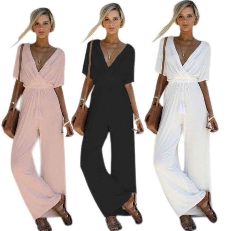 Fashion Summer Fall Women Jumpsuit Sexy Deep-V Short Sleeve Romper Solid Color Slim Draw ...