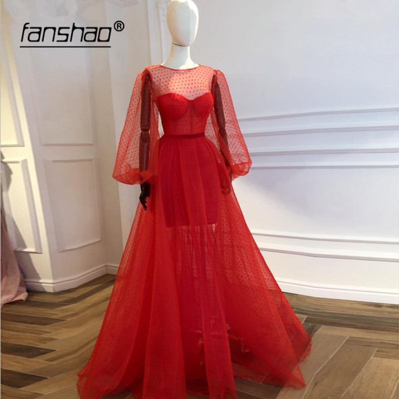 Red Muslim Evening Dresses Long Sleeves Lantern Lace Illusion Vestidos De Festa Dubai Saudi Arabic Evening Gown Prom Dress