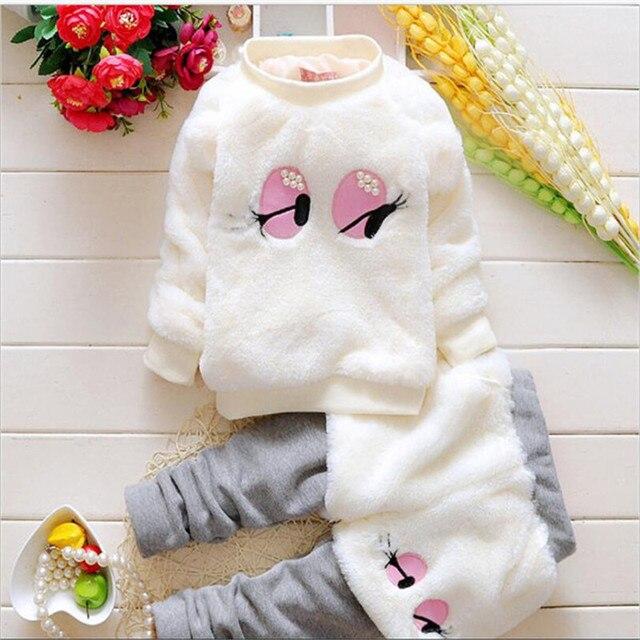 Мода мультфильм pearl большие глаза принцесса наборы для осень и зима теплая мягкая младенческая малышей одежда устанавливает 2 цвета
