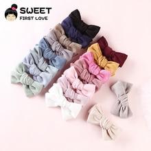 17 teile/los Solide Cord Bogen Haar Clips Für Mädchen Custommized Schöne Bowknot Einfache Haar Zubehör Weiche Headwear Kinder Haarnadeln